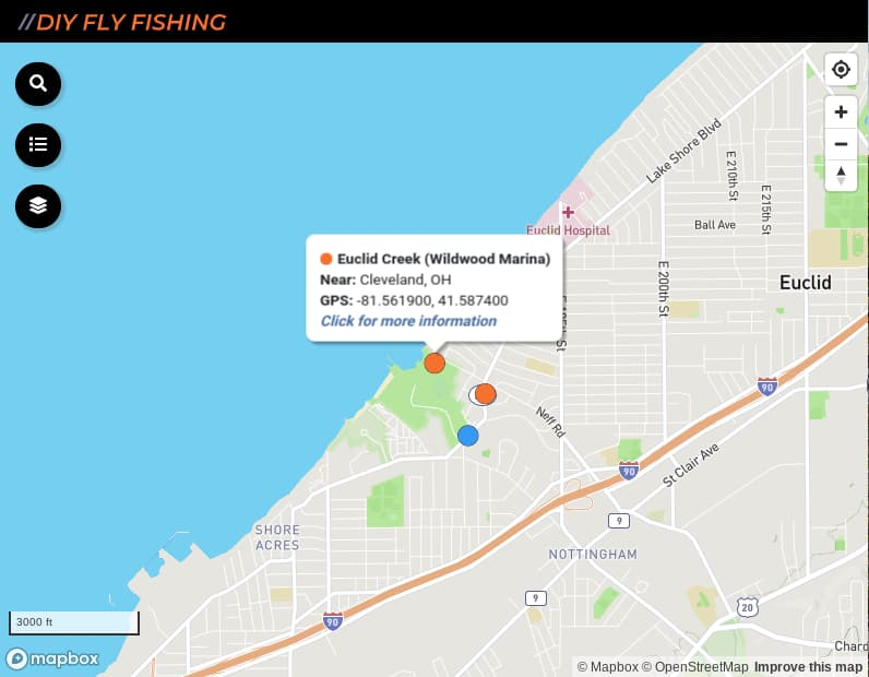 map of fishing access sites on Euclid Creek in OH