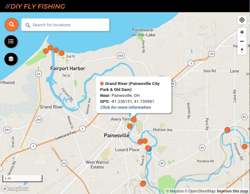 map of fishing access sites on the Grand River in Ohio