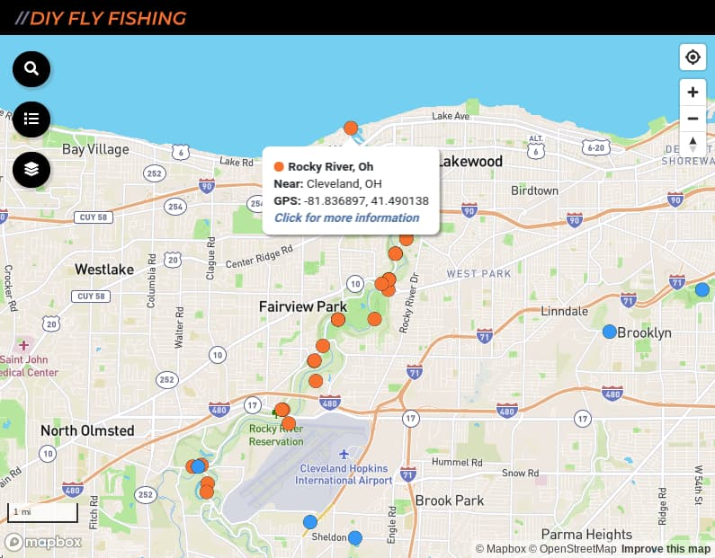 map of fishing access points on the Rock River in Ohio