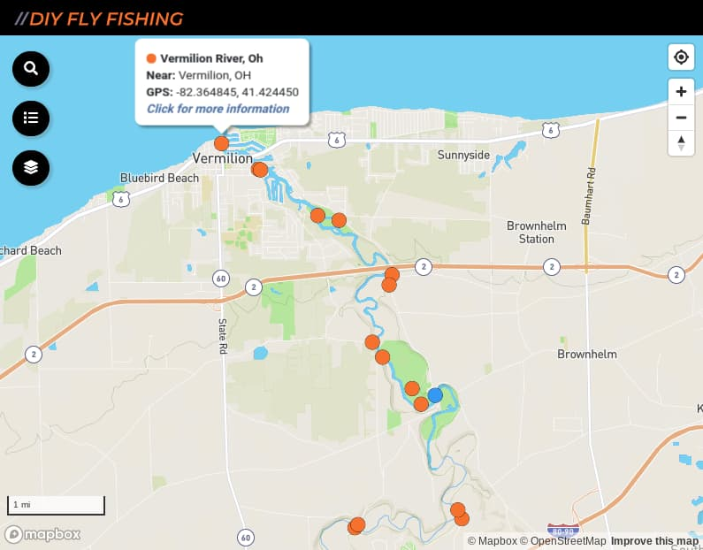 map of fishing access sites on the Vermilion River in Ohio
