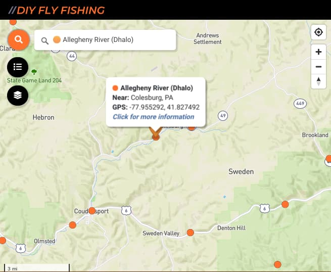 map of fishing spots on the Allegheny River in Pennsylvania