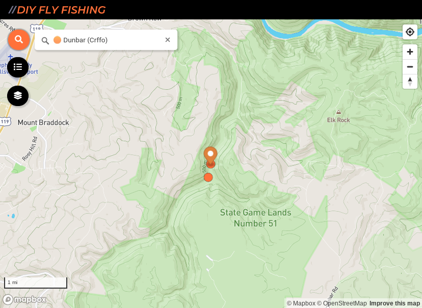 map of fishing spots on Dunbar Creek in southwest Pennsylvania