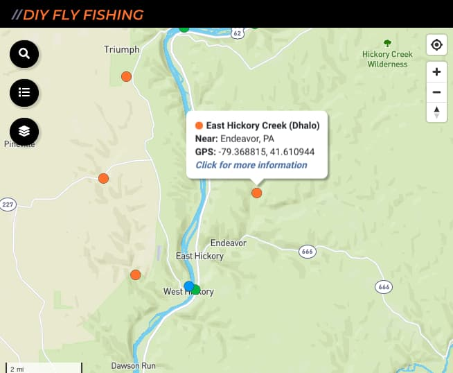 map of fishing spots on East and West Hickory Creek in Pennsylvania