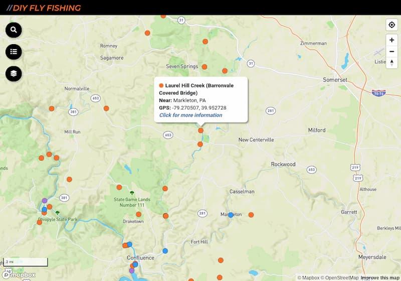 map of fishing spots on Laurel Hill Creek in Pennsylvania