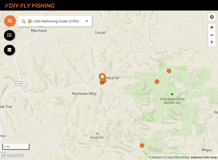 map of fishing spots on Little Mahoning Creek in southwest Pennsylania