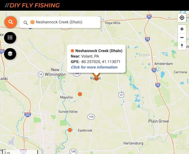 map of fishing spots on Neshannock Creek in Pennsylvania