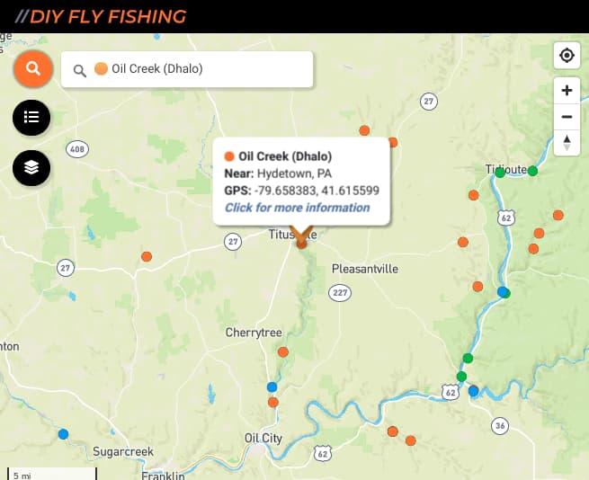 map of fishing spots on Oil Creek in Pennsylvania