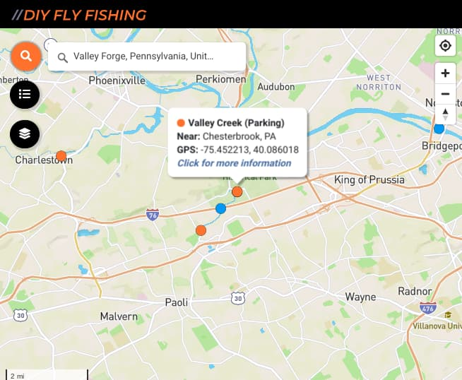 map of fishing spots on Valley Creek in Pennsylvania