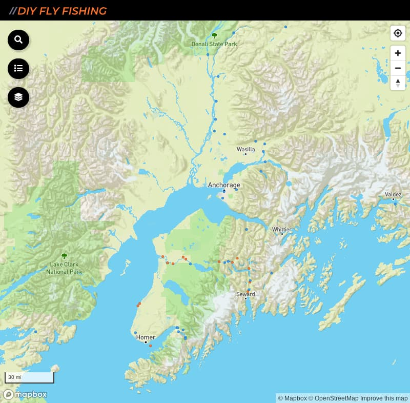 map of places to fish in Alaska