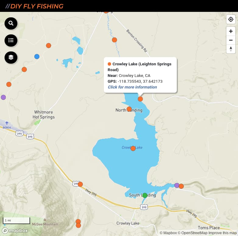 map of fishing access spots on Crowley Lake in California