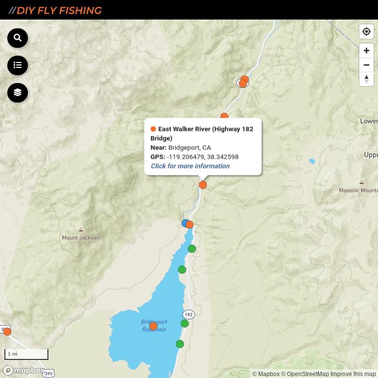 map of East Walker River fishing access spots
