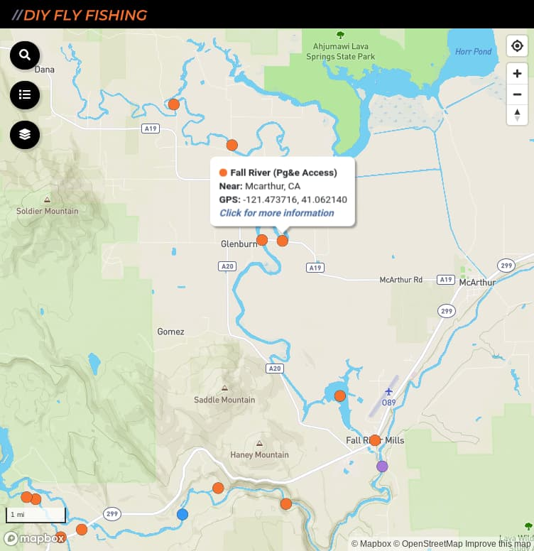 map of fishing access spots on the Fall River in California