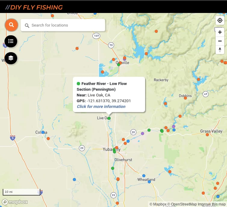 map of fishing access spots on the low flow section of the Feather River in California