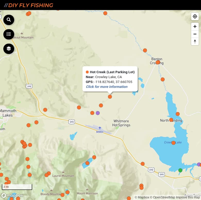 map of fishing access sites on Hot Creek in California
