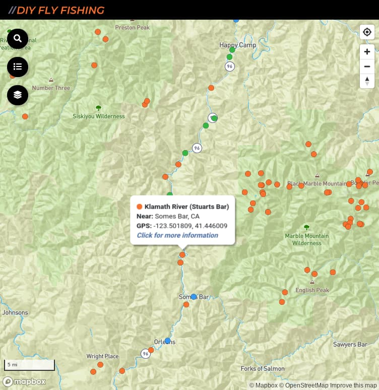 map of fishing access spots on the Klamath River in California