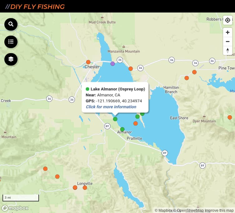 map of fishing access spots on Lake Almanor in California