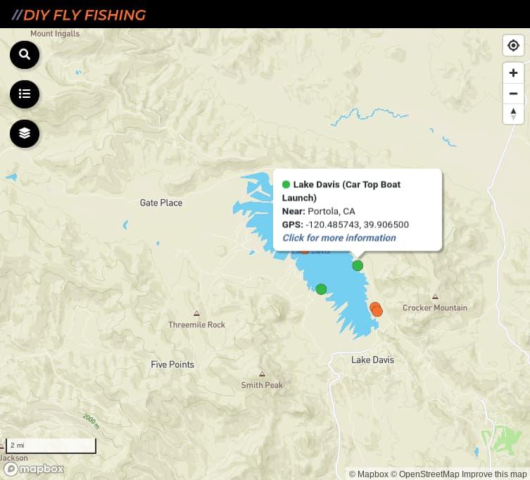 map of fishing access spots on Lake Davis in California