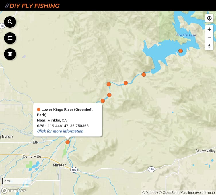 map of fishing access spots on the Lower Kings River in California