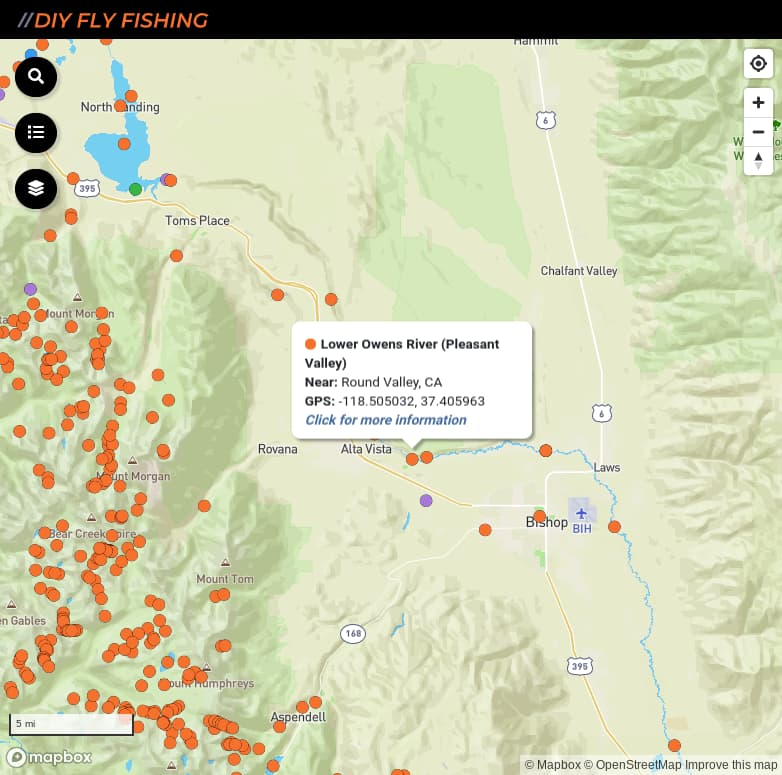 map of fishing access spots on the lower Owens River in California