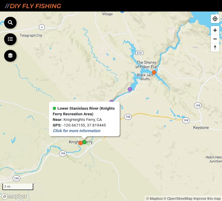 map of fishing access spots on the Lower Stanislaus River in California