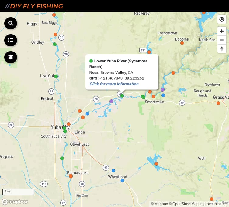 map of fishing access spots on the lower Yuba River in California