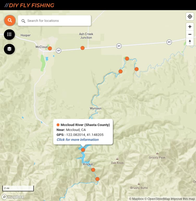 map of fishing access spots on the McClould River in California