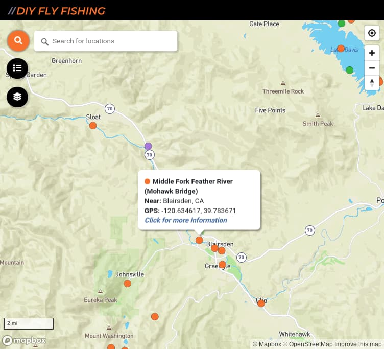 map of fishing access spots on the Middle Fork Feather River in California