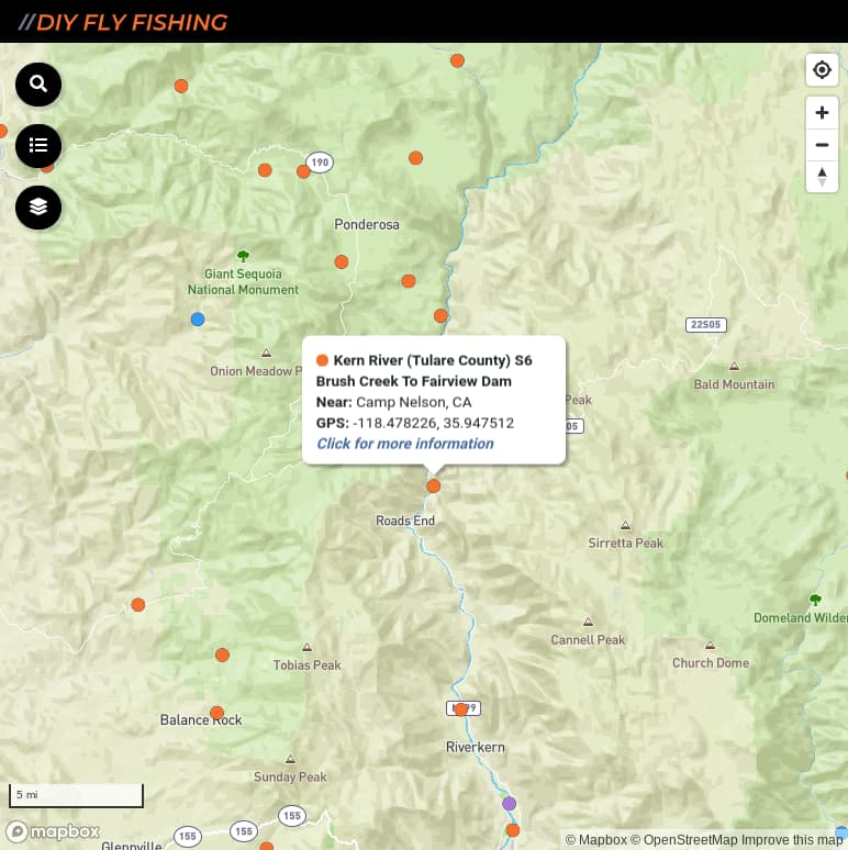 map of fishing access sites on the North Fork Kern River in California