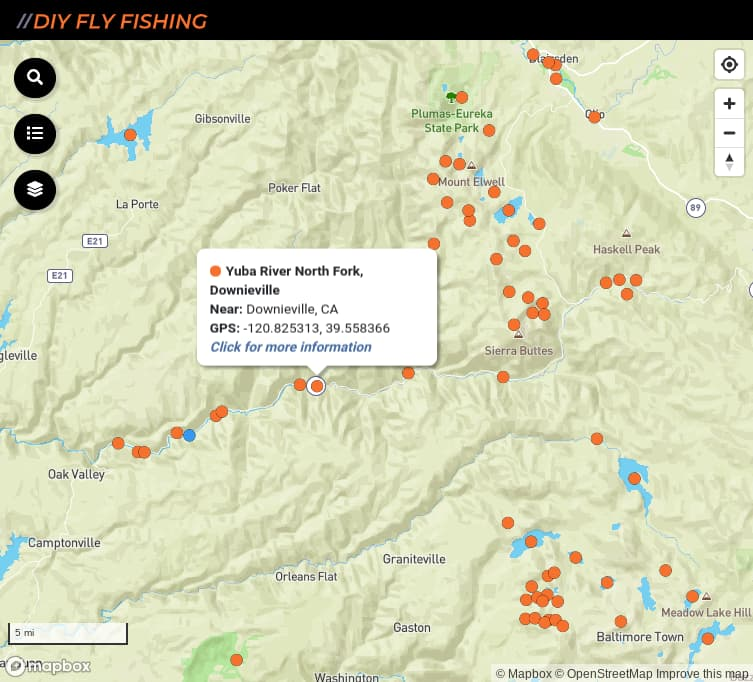 map of fishing access spots on the North Yuba River in California