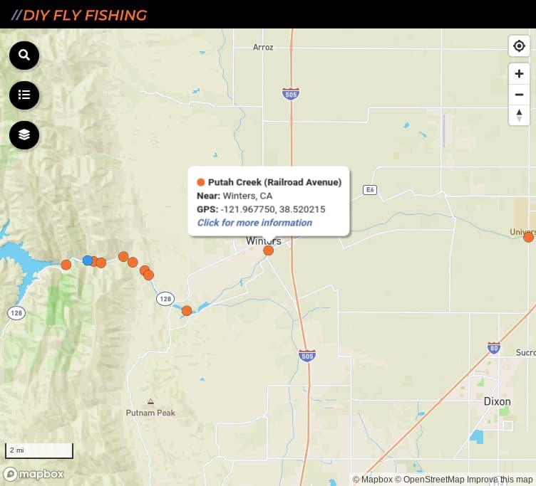 map of fishing access spots on Putah Creek in California