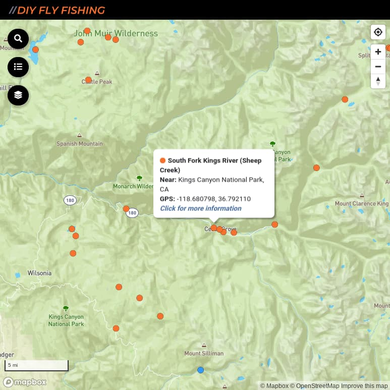 map of fishing access sites on the South Fork Kings River in California