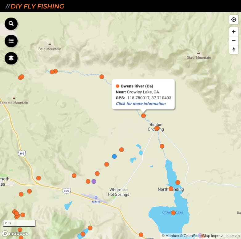 map of fishing access sites on the Upper Owens River in California