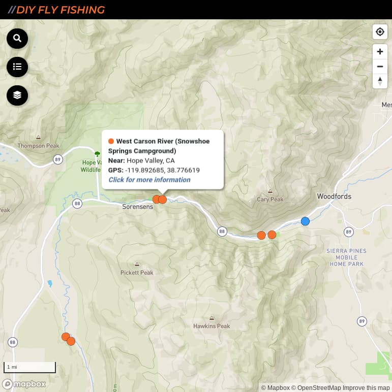 map of fishing access sites on the West Fork Carson River