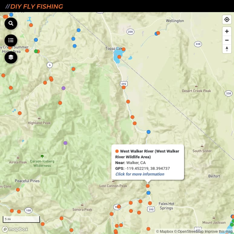 map of fishing access spots on the West Walker River in California