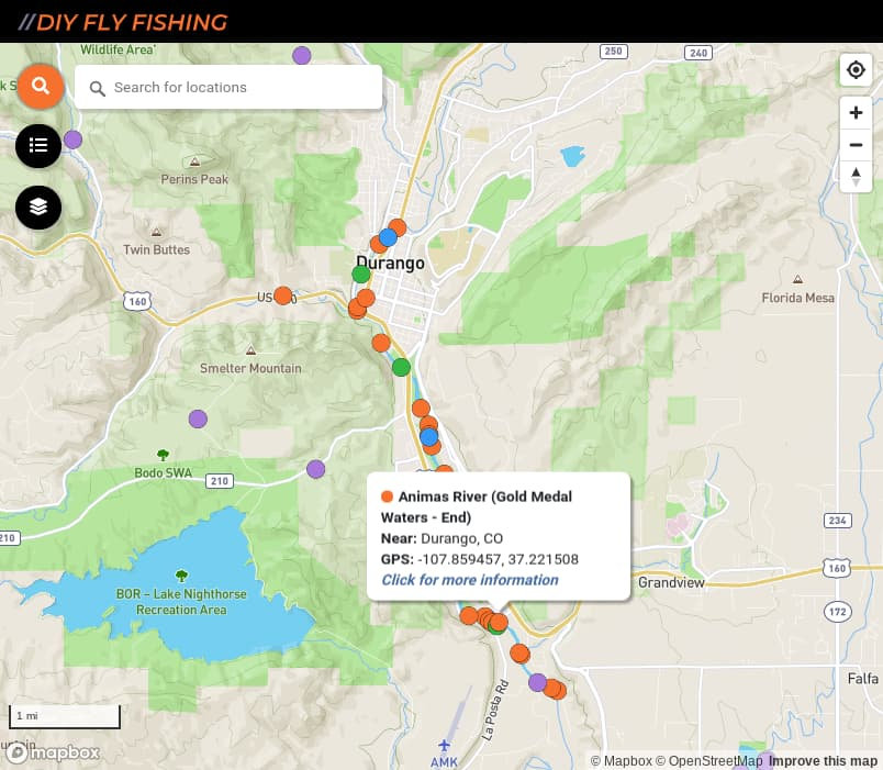 map of fishing access spots and boat ramps on the Animas River in Colorado
