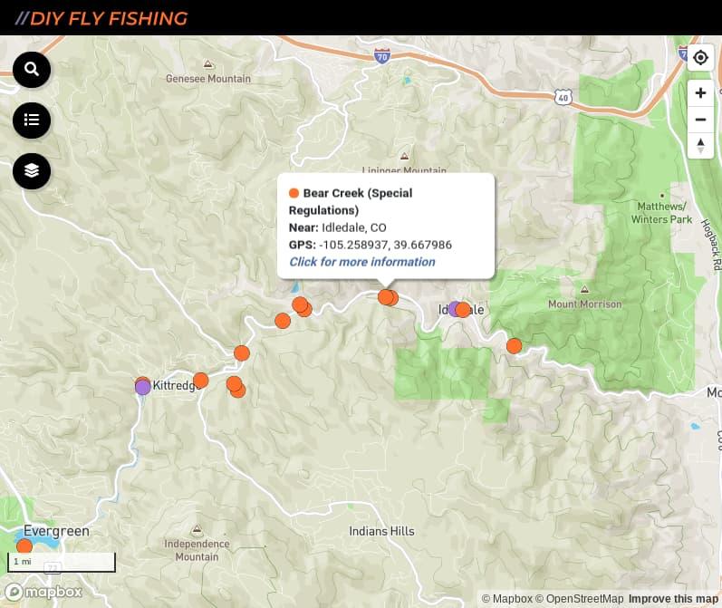 map of fishing access spots on Bear Creek in Colorado