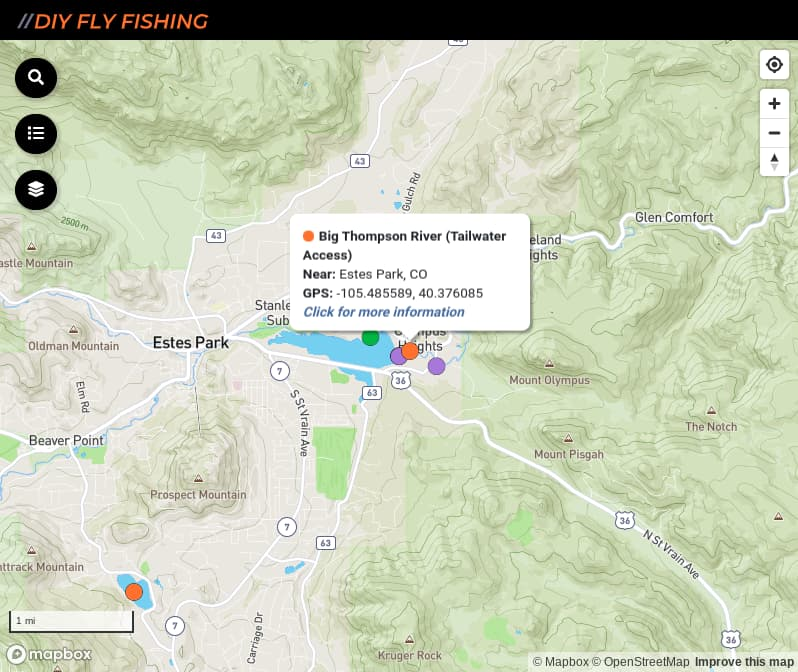 map of fishing access spots on the Big Thompson River in Rocky Mountain National Park