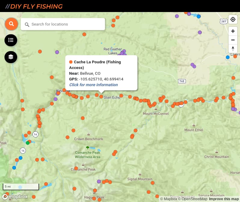 map of fishing access spots on the Cache La Poudre River in Colorado