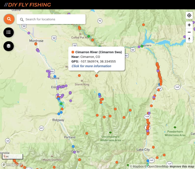 map of fishing access spots on the Cimarron River in Colorado