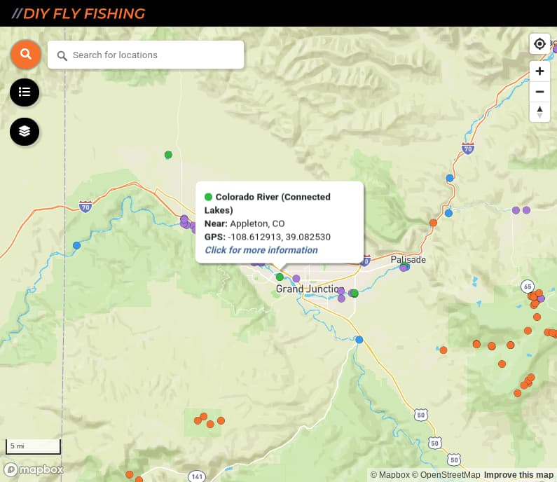 map of fishing access spots on the Colorado River