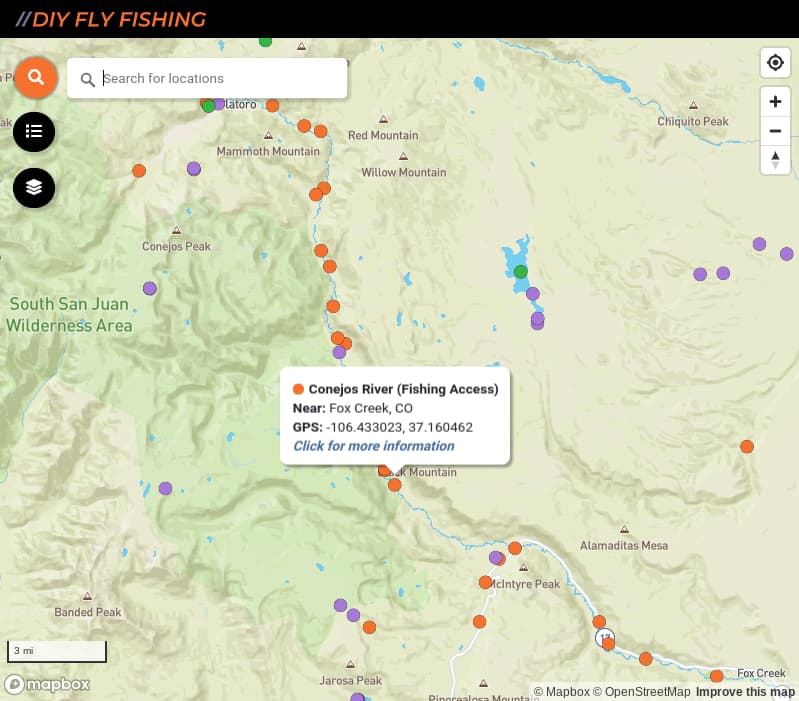 map of fishing access spots on the Conejos River in Colorado