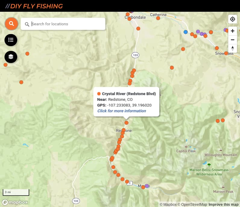 map of fishing hot spots on the Crystal River in Colorado