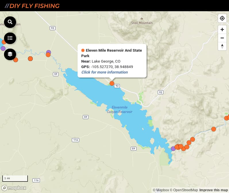 map of fishing access spots on Elevenmile Reservoir in Colorado