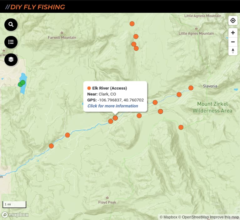 map of fishing access spots on the Elk River in Colorado