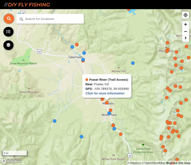map of fishing access spots on the Fraser River in Colorado