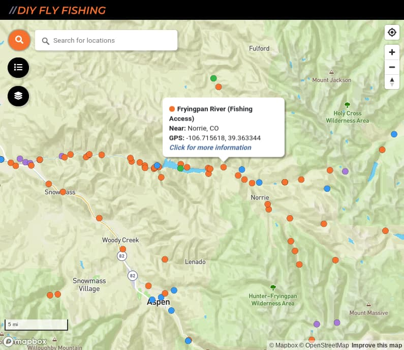 map of fishing access spots on the Frying Pan River in Colorado