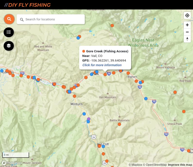 map of fishing access spots on Gore Creek in Colorado