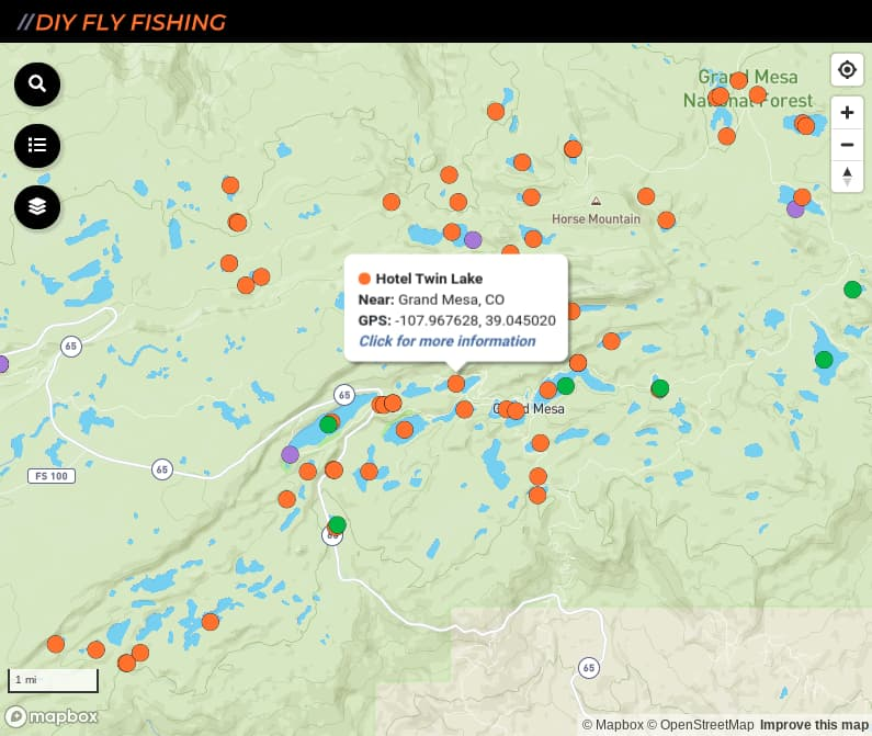map of fishing access spots in the Grand Mesa Lakes region of Colorado