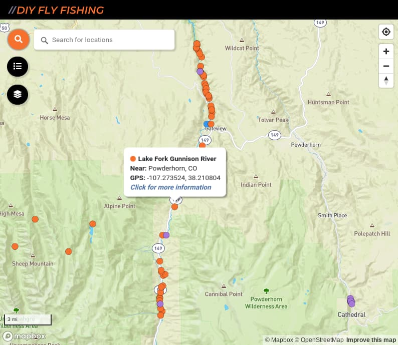 map of fishing access spots on the Lake Fork Gunnison River in Colorado
