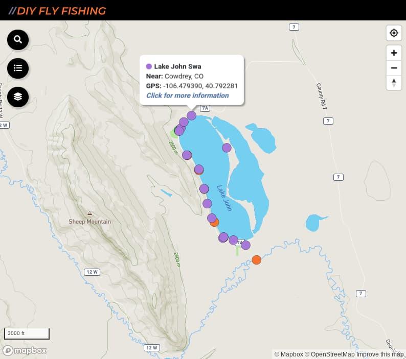 map of fishing access spots on Lake John in Colorado